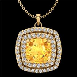Natural 1.50 CTW Citrine & Micro Pave Diamond Certified Halo Necklace 18K Yellow Gold - 20453-REF#-5