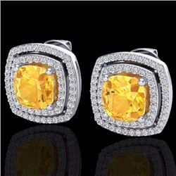 Natural 3 CTW Citrine & Micro Pave Diamond Certified Halo Earrings 18K White Gold - 20160-REF#-83Y7Z