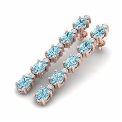 15.47 CTW SKY BLUE TOPAZ & DIAMOND SI-I CERTIFIED TENNIS EARRINGS - 29495-#61K5W
