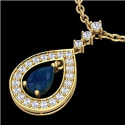 Natural 1.15 CTW Sapphire & Micro Pave Diamond Necklace Designer 14K Yellow Gold - 23171-REF#-53R5H