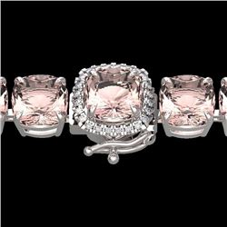 Natural 35 CTW Morganite & Micro Pave Diamond Halo Bracelet 14K White Gold - 23315-REF#-364X7T