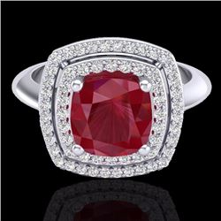 Natural 1.50 CTW Ruby & Micro Diamond Certified Pave Halo Ring 18K White Gold - 20766-REF#-69H5M