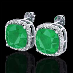 Natural 12 CTW Emerald & Micro Pave Halo Diamond Earrings Solitaire 18K White Gold - 23061-REF#-84G5