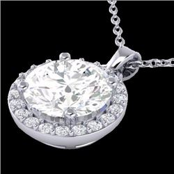 Natural 2 CTW Halo Diamond Certified Micro Pave Necklace Solitaire 18K White Gold - 21568-REF#-570V8