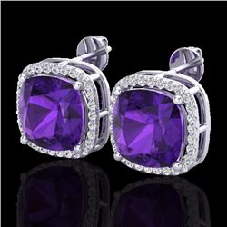 Natural 12 CTW Amethyst & Micro Pave Halo Diamond Earrings Solitaire 18K White Gold - 23055-REF#-76T