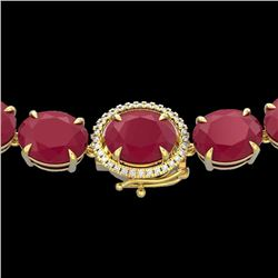 Natural 127 CTW Ruby & Diamond Halo Micro Eternity Necklace 14K Yellow Gold - 22313-REF#-442N8A