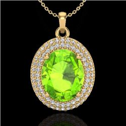 Natural 4.50 CTW Peridot & Micro Pave Diamond Certified Necklace 18K Yellow Gold - 20570-REF#-78W5G