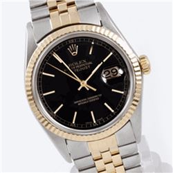 Pre-owned Excellent Condition Authentic Rolex Quickset Men's 18K/Stainless Steel DateJust Black Dial