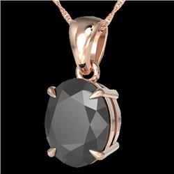 Natural 5 CTW Black Diamond Certified Designer Solitaire Necklace 14K Rose Gold - 21854-REF#-80N9A