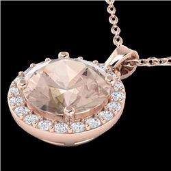 Natural 1.50 CTW Morganite & Halo Diamond Micro Necklace Solitaire 14K Rose Gold - 21565-REF#-47F2V