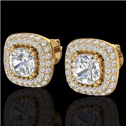 Natural 3.5 CTW Micro Pave Diamond Earrings Solitaire Double Halo 18K Yellow Gold - 20343-REF#-171R9