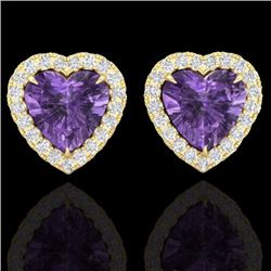 Natural 2 CTW Amethyst & Micro Pave Diamond Earrings Heart Halo IN 14K Yellow Gold - 21200-REF#-29Y2