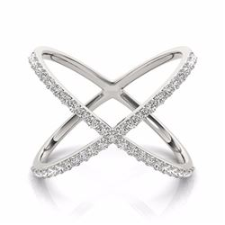 0.55 CTW Certified SI-I Diamond Designer Fashion Ring 18K White Gold - 28260-#65K2R