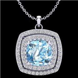 Natural 1.50 CTW Sky Blue Topaz & Micro Pave Diamond Halo Necklace 18K White Gold - 20449-REF#-56X2T
