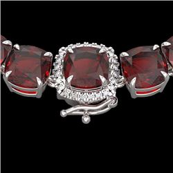 Natural 87 CTW Garnet & Diamond Halo Micro Pave Necklace 14K White Gold - 23346-REF#-251H8M