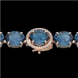 Natural 49 CTW London Blue Topaz & Micro Diamond Halo Bracelet 14K Rose Gold - 22265-REF#-131Y4Z