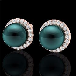 Natural .50 CTW Micro Halo Diamond Certified & Peacock Pearl Earrings 14K Rose Gold - 21498-REF#-43K