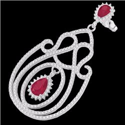 Natural 6.40 CTW Ruby & Micro Pave Diamond Certified Designer Earrings 14K White Gold - 22427-REF#-2