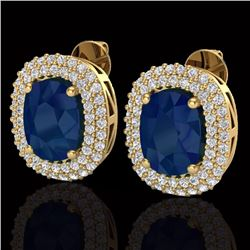 Natural 6.30 CTW Sapphire & Micro Pave Diamond Certified Halo Earrings 18K Yellow Gold - 20127-REF#-