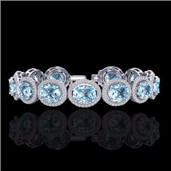 Natural 22 CTW Sky Blue Topaz & Micro Pave Diamond Certified Bracelet 10K White Gold - 22699-REF#-21