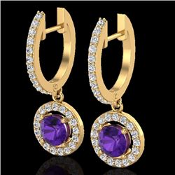 Natural 1.75 CTW Amethyst & Micro Pave Halo Solitaire Diamond Earrings 18K Yellow Gold - 23247-REF#-
