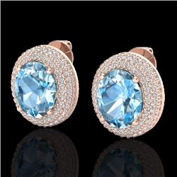 Natural 10 CTW Sky Blue Topaz & Micro Pave Diamond Certified Earrings 14K Rose Gold - 20217-REF#-100