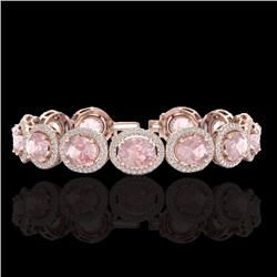 Natural 17 CTW Morganite & Micro Pave Diamond Certified Bracelet 10K Rose Gold - 22692-REF#-307Z7R