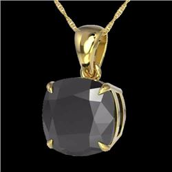 Natural 6 Cushion cut Black Diamond Designer Inspired SolitaireNecklace 18K Yellow Gold - 21976-REF#