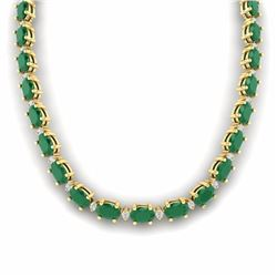 55.50 CTW EMERALD & DIAMOND SI-I CERTIFIED ETERNITY TENNIS NECKLACE - 29423-#213M3H