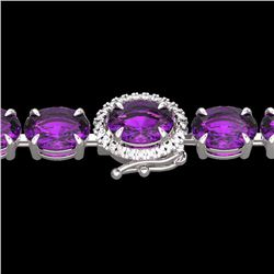 Natural 29 CTW Amethyst & Diamond Tennis Micro Pave Halo Bracelet 14K White Gold - 23412-REF#-81X7T