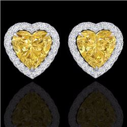 Natural 2 CTW Citrine & Micro Pave Diamond EARRRing Heart Halo IN 14K White Gold - 21202-REF#-29F2V