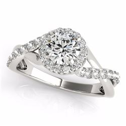 0.75 CTW Certified SI-I Diamond Bridal Solitaire Halo Ring 18K White - 26661-#85N9F