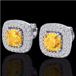 Natural 2.16 CTW Citrine & Micro Diamond Earrings Solitaire Double Halo 18K White Gold - 20339-REF#-