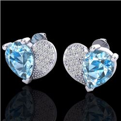 Natural 2.50 CTW Sky Blue Topaz & Micro Pave Diamond Certified Earrings 10K White Gold - 20067-REF#-