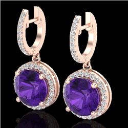 Natural 4 CTW Amethyst & Micro Pave Diamond Certified Designer Halo 14K Rose Gold - 23176-REF#-56F8V