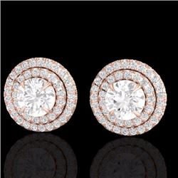 Natural 2 CTW Micro Pave Diamond Certified Stud Earrings Double Halo 14K Rose Gold - 21469-REF#-160Y