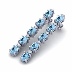 12.47 CTW AQUAMARINE & DIAMOND SI-I CERTIFIED TENNIS EARRINGS - 29472-#114Y2Z