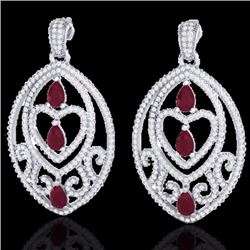 Natural 7 CTW Ruby & Micro Pave Diamond Heart Earrings Designer IN 18K White Gold - 21158-REF#-248W2