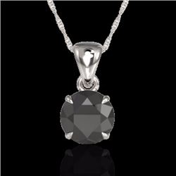 Natural 2 CTW Black Diamond Designer Inspired Solitaire Necklace 18K White Gold - 22015-REF#-43Y4Z
