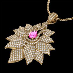 Natural 3 CTW PINK Sapphire & Micro Pave Diamond Designer Necklace 18K Yellow Gold - 22569-REF#-186X