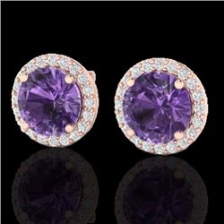 Natural 4 CTW Amethyst & Halo Diamond Micro Pave Earrings Solitaire 14K Rose Gold - 21476-REF#-43M2F