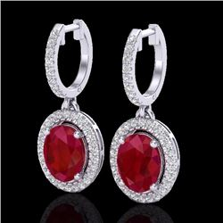 Natural 4.25 CTW Ruby & Micro Pave Diamond Earrings Solitaire Halo 18K White Gold - 20331-REF#-80R5H