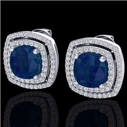 Natural 3 CTW Sapphire & Micro Pave Diamond Certified Halo Earrings 18K White Gold - 20171-REF#-83V7