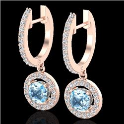 Natural 1.75 CTW SKY Topaz & Micro Pave Halo Solitaire Diamond Earrings 14K Rose Gold - 23260-REF#-5