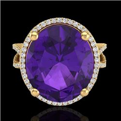 Natural 10 CTW Amethyst & Micro Pave Diamond Certified Halo Ring 18K Yellow Gold - 20953-REF#-78F2V
