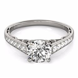 0.85 CTW Certified SI-I Diamond Solitaire Bridal  Ring 18K White Gold - 27510-#88H8W