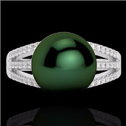 Natural .30 CTW Micro Pave Diamond Certified & Peacock Pearl Ring 18K White Gold - 22628-REF#-45W5G