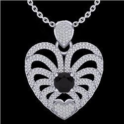 Natural 3.50 CTW Black & White Micro Diamond Certified Heart Necklace 14K White Gold - 20499-REF#-13