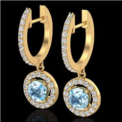 Natural 1.75 CTW SKY Topaz & Micro Pave Halo Solitaire Diamond Earrings 18K Yellow Gold - 23261-REF#