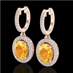 Natural 3.50 CTW Citrine & Micro Pave Diamond Earrings Solitaire Halo 14K Rose Gold - 20319-REF#-67A